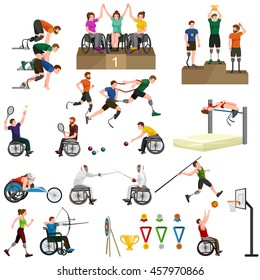 people on wheelchair disabled sport activity isolated icon, invalid playing athletic game pictogram vector illustrations, handicapped woman doing exercise and become champion