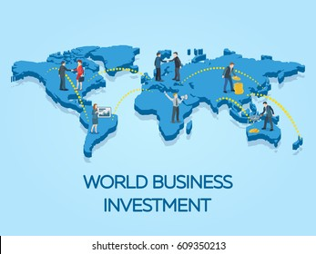 People on the world map. Business start-up work moments flat 3d banner. New ideas, search for investor, increased profits. Business situation. Businessman and businesswoman enter into a contract