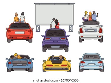 People in open air cinema sketch cartoon vector illustration isolated on white background. Retro popular night entertainment with movie watching from parked cars.