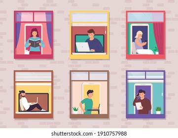People in open window spaces home. Concept living neighbors in apartment building in big city. Neighbors work on laptop, talk on phone, read books, running on treadmill, studying and rest.