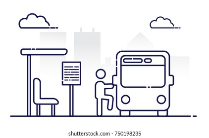 People and others are waiting for the bus. Public transport. Infrastructure element. Commute to work. City