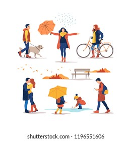 People outdoor in the autumn park. Vector illustration.