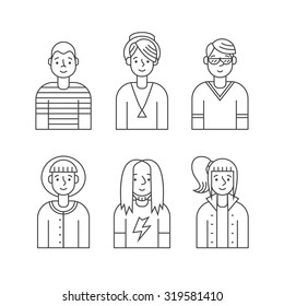 People outline gray icons vector set (men and women). Modern minimalistic design. Part one.