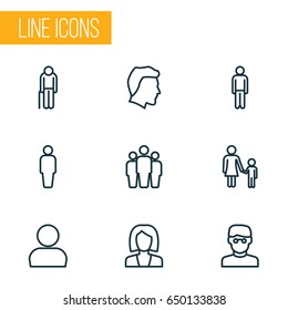 People Outline Icons Set. Collection Of Business, Mother, Male And Other Elements. Also Includes Symbols Such As Oldster, Old, User.