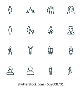 People Outline Icons Set. Collection Of Man, Profile, Couple And Other Elements. Also Includes Symbols Such As User, Boy, Walking.