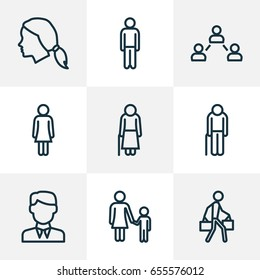 People Outline Icons Set. Collection Of Worker, Female, Pulling And Other Elements. Also Includes Symbols Such As Male, Old, Oldster.