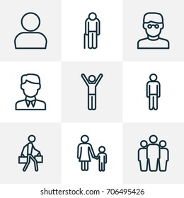 People Outline Icons Set. Collection Of Man, Team, Rejoicing And Other Elements. Also Includes Symbols Such As Walk, Human, Profile.