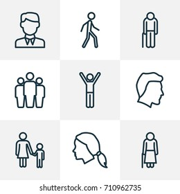 People Outline Icons Set. Collection Of Team, Woman, Worker And Other Elements. Also Includes Symbols Such As Mother, Human, Oldster.