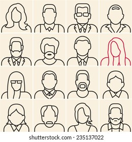 People outline silhouettes on white background. People line icons.