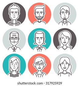 People outline vector set. Linear vector people avatar collection. Men,women and children user pics icons for social media and web design.
