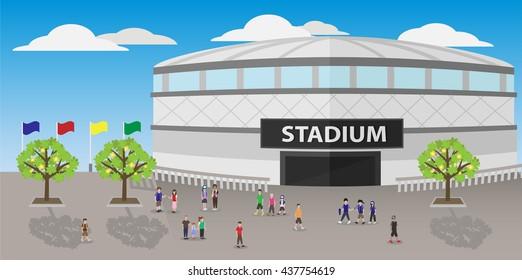 people outside sport stadium cartoon vector