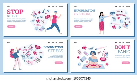 People overloading by information about covid-19 virus and world pandemic coronavirus. Persons experience stress, fear and tired from breaking news and data from internet. Vector