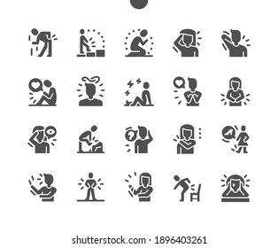 People in pain. Emotional and physical pain. Sadness, confused thoughts and cry. Backache, heart pain, headache, earache, bone fracture. Vector Solid Icons. Simple Pictogram