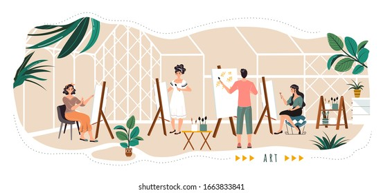People painting in art studio, cartoon characters, vector illustration. Creative workspace for artists, painting class, easel with canvas, abstract art therapy. Men and women in studio, artist group