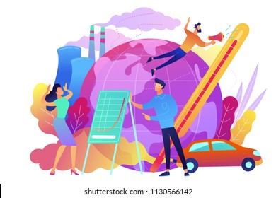 People in panic to announce global heating data. Globe with power plant and traffic fumes as a symbol of environment pollution, global heating impact. Violet palette. Vector illustration on background
