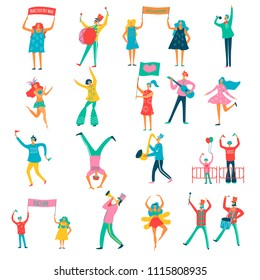 People parade demonstration for peace participants characters with make love not war banners flat set vector illustration