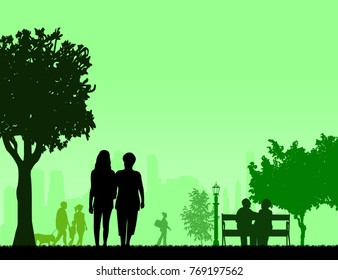 People in park and different activities in park scene silhouette layered, one in the series of similar images