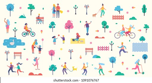People in park icons collection, trees and benches lantern illuminating light, couples having fun walking together, playing tennis vector illustration