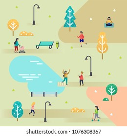 People in the park. Illustration in flat design.