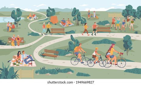 People in park leisure outdoor activity, family picnic and summer rest. Vector people sitting on bench, playing on lawn and riding bicycle, physical sport activities, elderly couple, parents with pram - Shutterstock ID 1949669827