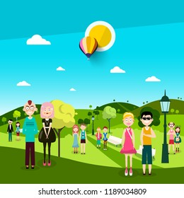 People in Park. Men and Women on Meadow. Vector Landscape with Hills and Hot Air Balloon on Blue Sky with Sun.