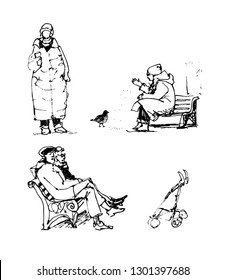 People in the park - old woman walking and holding a cup of coffee in her hand, girl feeding a pigeon, old couple sitting on a bench. Vector line illustration in sketchy style, freehand drawing.