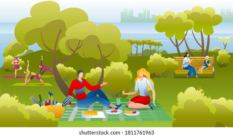 People in park, on picnic having fun, leisure and rest in summer nature, doing yoga exersices and fitness, eating vector illustration. Couple having picnic in park, relaxing on sunny day.