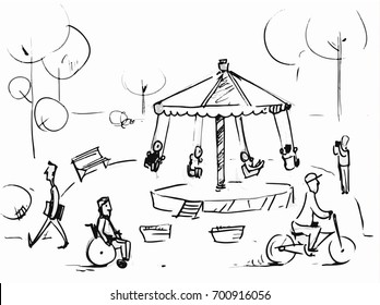 People in the park outdoors. Vector sketch for storyboard, projects, cartoon