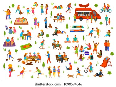 people in the park set. man woman couples family children friends group seniors walking relaxing sit on benches work on laptops, read book, exercise, on picnic, party, dance, play ball, lying on grass