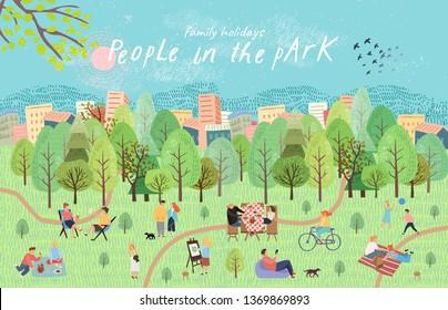 Люди в парке. Векторная иллюстрация людей, отдыхающих на пикник на природе. Рисование вручную активных семейных выходных в лесу у озера с барбекю, детские игры, прогулки. Вид сверху