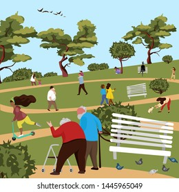 people in the Park. people walk and play sports. vector image of people of different races and ages