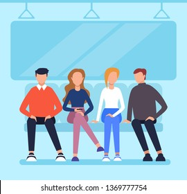People passengers characters sitting in wagon metro and using phone. City urban transportation concept. Vector flat cartoon graphic design illustration