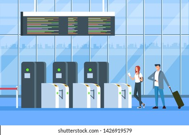 People passengers pass registration gates. Registration for departure travel concept. Vector flat cartoon graphic design isolated illustration