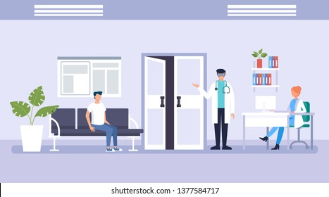 People patients characters waiting in line doctor. Medicine aid office concept. Vector flat graphic design illustration