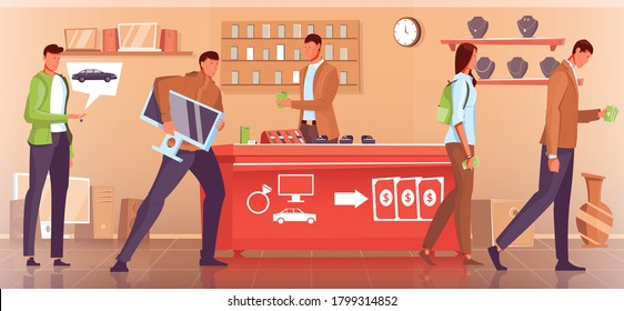 People pawn cars gadget jewelry at pawnshop flat vector illustration