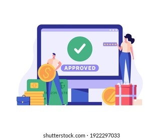 People paying successfully and safely. Online mobile payment and banking service. Concept of payment approved, payment done. Vector illustration in flat design for web banner and mobile app