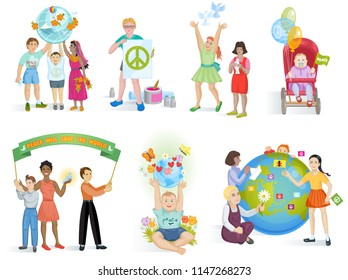 People in peace vector world kids on planet earth and worldwide earthly friendship illustration peaceful set of boys or girls together isolated on white background