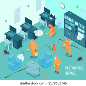 People from pest control service doing disinfection in office 3d isometric vector illustration