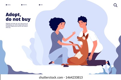 People with pets concept. Happy persons adopt pet with love. Owner hugging puppy vector landing page. Illustration of adoption dog, animal pet shelter homepage