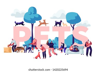 People and Pets Concept. Male and Female Characters Walking with Dogs and Cats Outdoors, Relaxing, Leisure, Love, Care of Animals Poster, Banner, Flyer, Brochure. Cartoon Flat Vector Illustration