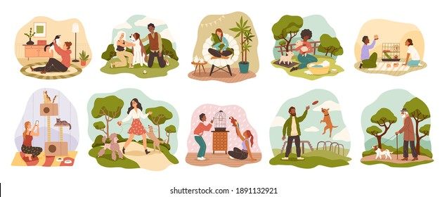 People with pets. Happy owners domestic animals with dogs, cats and mini pigs, little hamsters, parrot and iguana. Men, women and kids take care, play and walk with their pet vector cartoon scenes set