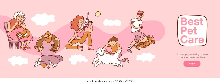 People and pets interaction with best pet care symbols horizontal flat vector illustration