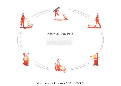 People and pets - people with their dogs, parrot, fish and lizzard vector concept set. Hand drawn sketch isolated illustration