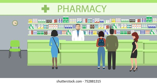 People in the pharmacy. The pharmacist man stands near the shelves with medicines. In the green hall there are visitors. Vector illustration.