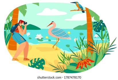 People photographing nature bird flat vector illustration. Cartoon woman birdwatcher photographer taking picture, animal camera photo of tropical bird. Wildlife natural photography isolated on white