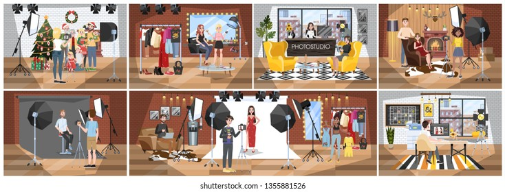 People in the photostudio making photoshoot for memory. Various equipment such as camera and light. Big photostudio building interior. Vector illustration in cartoon style
