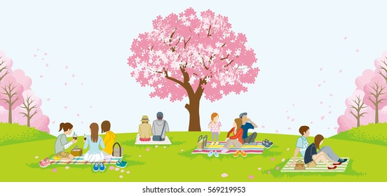 People picnic in spring nature