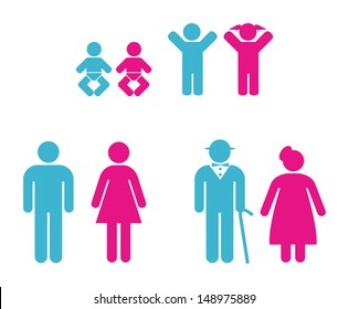 people pictogram in blue and pink
