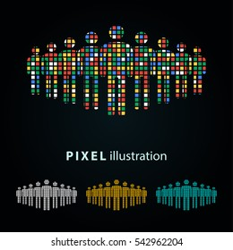 People - pixel icon. Vector Illustration. Design logo element. Isolated on black background. It is easy to change to any color.
