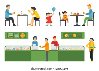 People in a Pizzeria Restaurant interior flat icons set. Pizza concept web vector illustration.